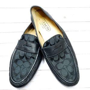 Coach Neal signature black leather slip on